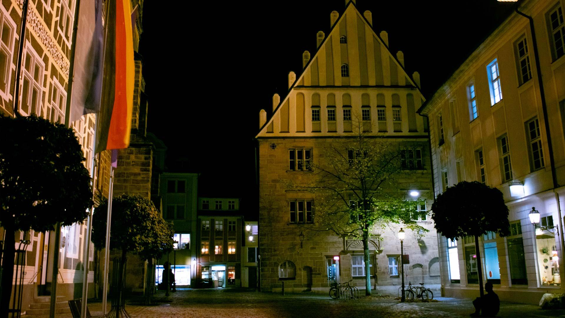 Stadt Ansbach bei Nacht
